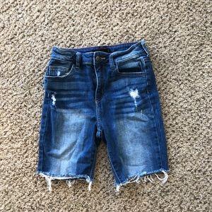 Denim Shorts w/ biker cut